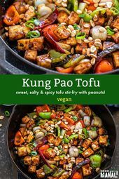 Sweet, salty and spicy! This Kung Pao Tofu is a stir-fry made with dried red chi…