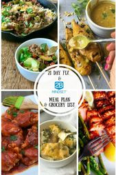 2B Mindset Meal Plan & Grocery List | 21 Day Fix No Yellow Meal Plan & Grocery L…