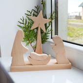 Hölzerne Krippe, Weihnachtsdekoration, Joseph Mary Jesus, Krippenfiguren