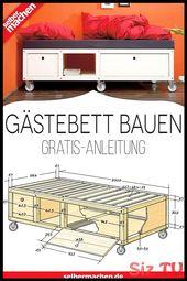Gästebett selber bauen – mit dieser Gratis-Anleitung!,  #bauen #dieser #diymöbelholz #Gästebe…