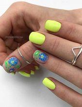 kurzes quadratisches Nagel-Design; natürliche quadratische Nägel Design, Sommer kurze Nägel …   – summer nails