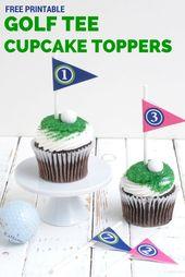 Free Printable Golf Tee Cupcake Toppers Katarina S Paperie Golf Cake Golf Cupcakes Cupcake Toppers