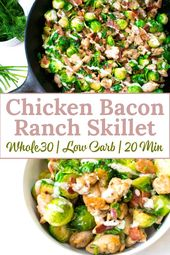 This chicken bacon ranch skillet is a healthy and delicious meal that comes toge…