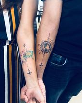 Couple tattoo #coupletattoo #travel #traveltattoo #tattoodesign #watercolor