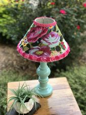 18″ tall lamp,hot pink lampshade,lamp with roses,shabby cottage lamp,rosette trimmed lampshade, mint lamp,feminine bedroom lamp,pink lamp   – Delanee's New Room