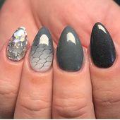Dark gray nails #AcrylicNailsStiletto