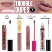 Anastasia Beverly Hills Trouble Liquid Lipstick Dupes