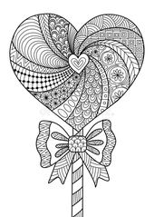 Heart Lollipop Line Art Design For Coloring Book For Adult, T- Shirt Design And Other Decorations – Stock Stock Vector – Illustration of other, bright: 71562388