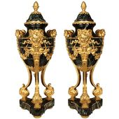 French 19th Century Louis Xvi Style Belle Époque Period Ormolu And Marble Urns