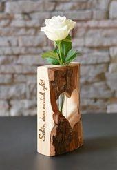 Herzvase-Dualis, Holzdeko mit Glasröhrchen