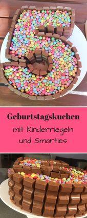 Geburtstagskuchen mit Kinderriegeln und Smarties