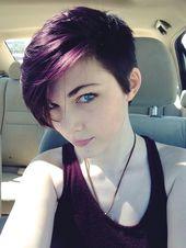 Atemberaubende Hinterschneidung auf lila Haaren   – Short Hairstyles – #Atembera…  #atembera #atemberaubende #haaren #ha