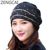 Turban Hat Women Summer Skullies Beanies Rhinestone Hats Fashion Female Knitted Caps Girls Slouchy Beanie Lady Autumn Lace Hat – 服装