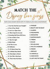 Match the Disney Song, Bridal Shower Games Printables, Bridal Shower Game Idea, Bridal Shower Instant Download, Wedding Game, Bridal Game