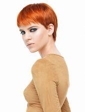 Markieren Sie braune Haarfarbe Pixie Frisur 2019