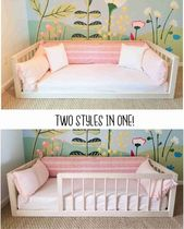 Montessori Floor Bed With Rails Full oder Double Size Floor Bett Hartholz ENTHÄLT SCHLITTEN