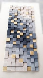 Wandkunst, Holzwanddekor, Holzwandskulptur, rustikales Holzmosaik, modernes Holzkunstwandaufhängung, 3D-Wandkunst, Grau und Gold abstrakt