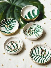 Make DIY Trinket Dishes with Tropical Leaves Tropical Leaf Trinket Dishes