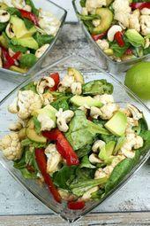 Low Carb Blumenkohlsalat Mit Cashewkernen Und Avocado Rezept Blumenkohlsalat Gesunde Rezepte Rezepte