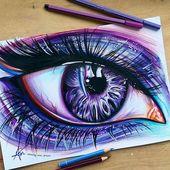 Realisitsches Auge in lila und blau