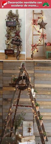 Ideas para decorar la Navidad con escaleras de man…