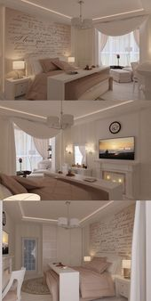 Cozy bedroom, nice colors. Very practical table to…