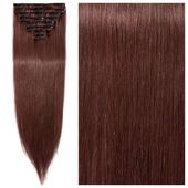 SALE!! Auburn Brown Clip In Hair Extensions 24″ Remy Human Hair Double Weft – ONLY $61.24!!!