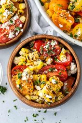 This summer corn salad combines fresh roasted corn on the cob, juicy tomatoes, c…