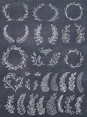 Laurel Wreath Clipart, Wreath Clip Art, Laurel Wreath PNG, Botanical Clipart, Hand Drawn Clip Art, Floral Wreath Vector, PNG, Commercial Use