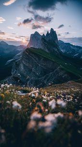 Mountains, alps, peaks, lawn, sky, landscape wallpaper