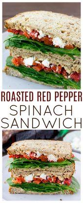 Dieses geröstete Paprika-Spinat-Sandwich ist ein gesundes, leckeres veg …