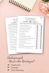 Hochzeitsspiel – Ratespiel für Gäste als PDF zum Selbstausdruck