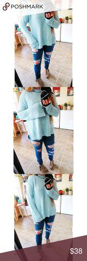 NWT Cozy aqua blue bell sleeve sweater 🌿 Brand new with tags beautiful aqua b… – My Posh Picks