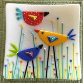 fused glass ideas birds in the garden plate by 9 square and soft fused fused gla…