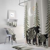 Nordischer Bär Duschvorhang, Woodland, rustikales Land, Badezimmer Dekor, Bär Duschvorhang   – Pinterest Mini-Mall Viral Board