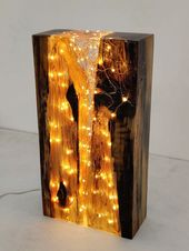 Resin lamp light block sculpture reclaimed antique image 0  – Nachtleuchte