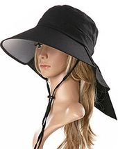 Ls Lady Womens Summer Flap Cover Cap Cotton Anti-UV UPF 50+ Sun Shade Hat With Bow. Adjustable Hat With Wind belt (One Size, Black) – Hiking & Camping