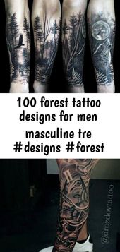 100 forest tattoo designs for men masculine tre #designs #forest #ideas #ink #masculine #men #tatt 1