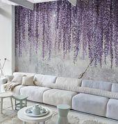 Mural wallpaper, Removable wallpaper Watercolor Wisteria – Textured Wallpaper. Temporary wallaper