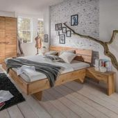 Schubladen Komfortbett aus Kernbuche Massivholz gepolstertem Kopfteil BasilicanaBasilicana