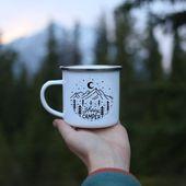 Campfire Mug Personalised 'Happy Camper' Camp Mug Mountain Mug Camping Mug Camping Gift // ONE Mug