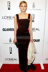 Diane Kruger Golden Globe Awards Burgund Samt Abendkleid