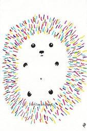 Hedgehog Print Colorful Hedgehog Illustration Hedgehog Art Print Wall Art Bedroom Decor Woodland Animal Home Decor Rainbow Decor