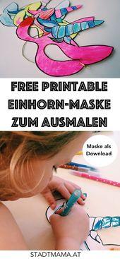 Einhorn Einladungskarte für den Kindergeburtstag & Maske