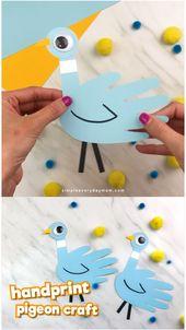 Handprint Pigeon Craft For Kids