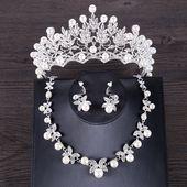 FORSEVEN Luxus Simulierte Perle Hochzeit Schmuck Set Silber Farbe Kristall Braut Krone Tiara Butterf Halskette Ohrring Sets Schmuck   – Everything Popular