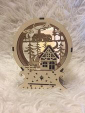 Christmas lamp winter forest ,vector cutting plan, laser cutting ,milling cutting,3D puzzle, plywood, wood Lamp,Christmas decor