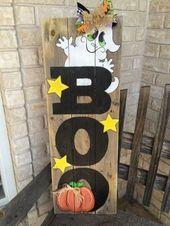 +22 Charming Diy Halloween Dekorationen aus Altholz