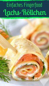 Los rollos de crepe de salmón con queso crema son perfectos como bocadillos   – канапе