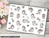 Kawaii Unicorn Planner Stickers – Character Stickers – for Erin Condren and Happy Planner 2313